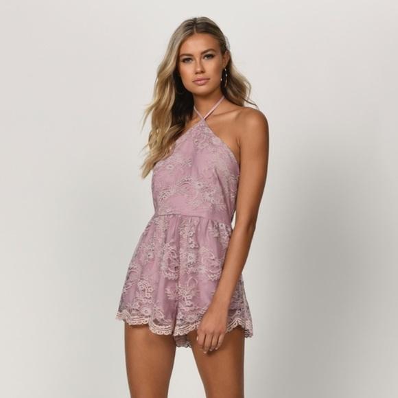 Tobi Dresses & Skirts - TOBI Mauve lace romper